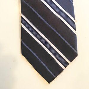 DKNY 100% silk tie Navy, Blue, White